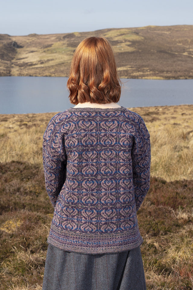 Amphora hand knitwear design in blue colourway from the book A Collector's Item by Jade Starmore