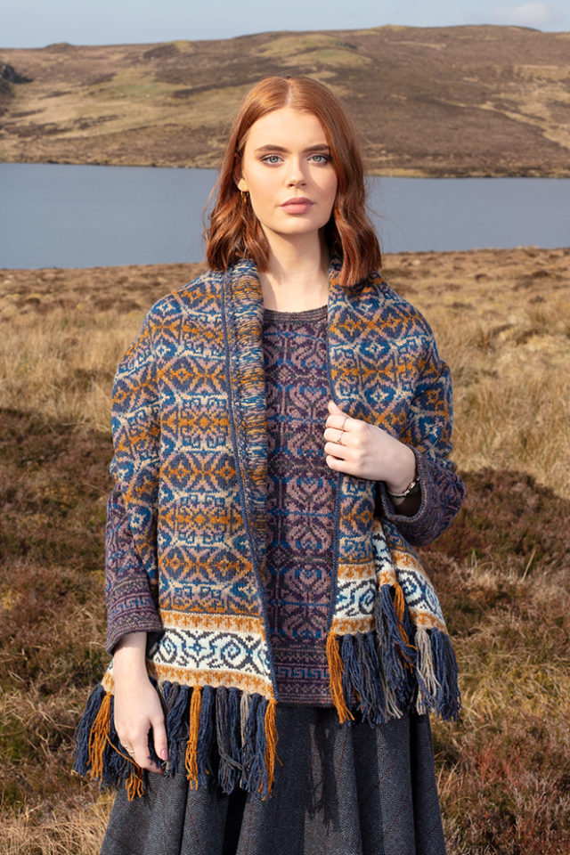 Arabesque hand knitwear design in Winter colourway and Amphora pullover by Jade Starmore from the book A Collector's Item