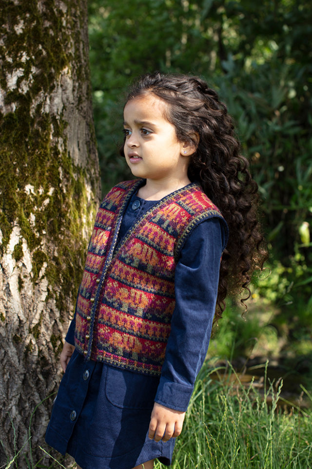 Elephants waistcoat hand knitwear design from the book The Children's Collection by Alice Starmore