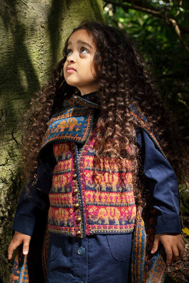 Elephants waistcoat and blanket hand knitwear designs from the book The Children's Collection by Alice Starmore