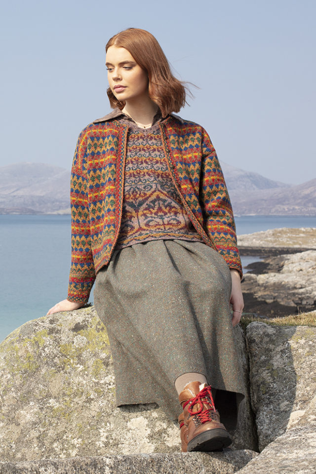 Gypsy Moth and Suzani Vest hand knitwear designs from the book A Collector's Item by Jade Starmore