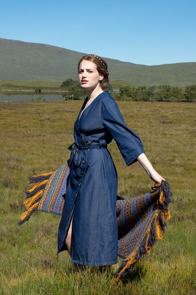 Gypsy Moth Wrap hand knitwear design in blue colourway from the book A Collector's Item by Jade Starmore