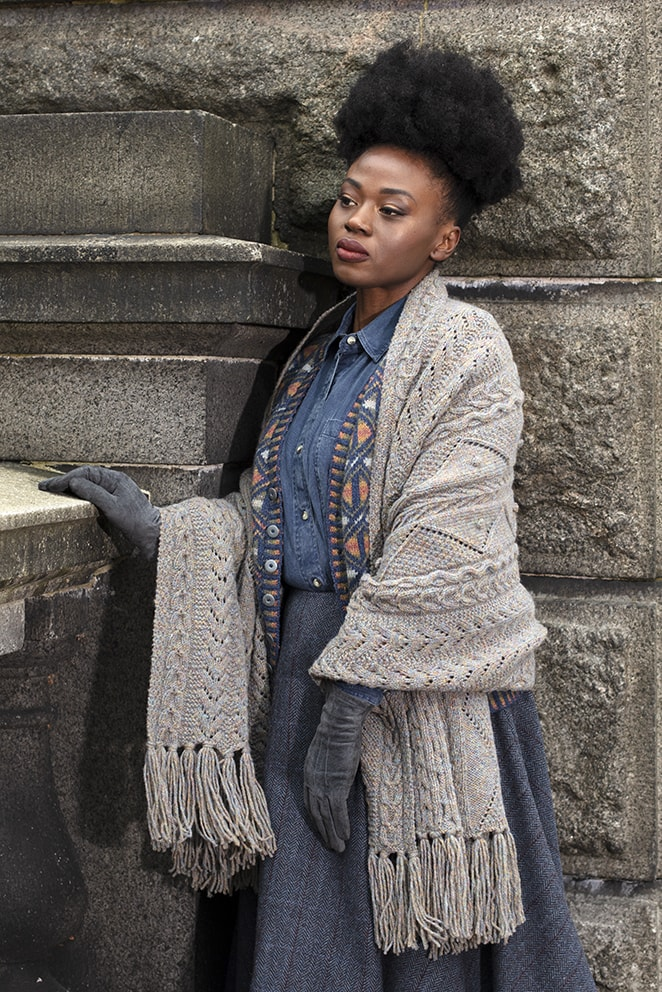 Maidenhair Wrap hand knitwear design from the book Aran Knitting by Alice Starmore