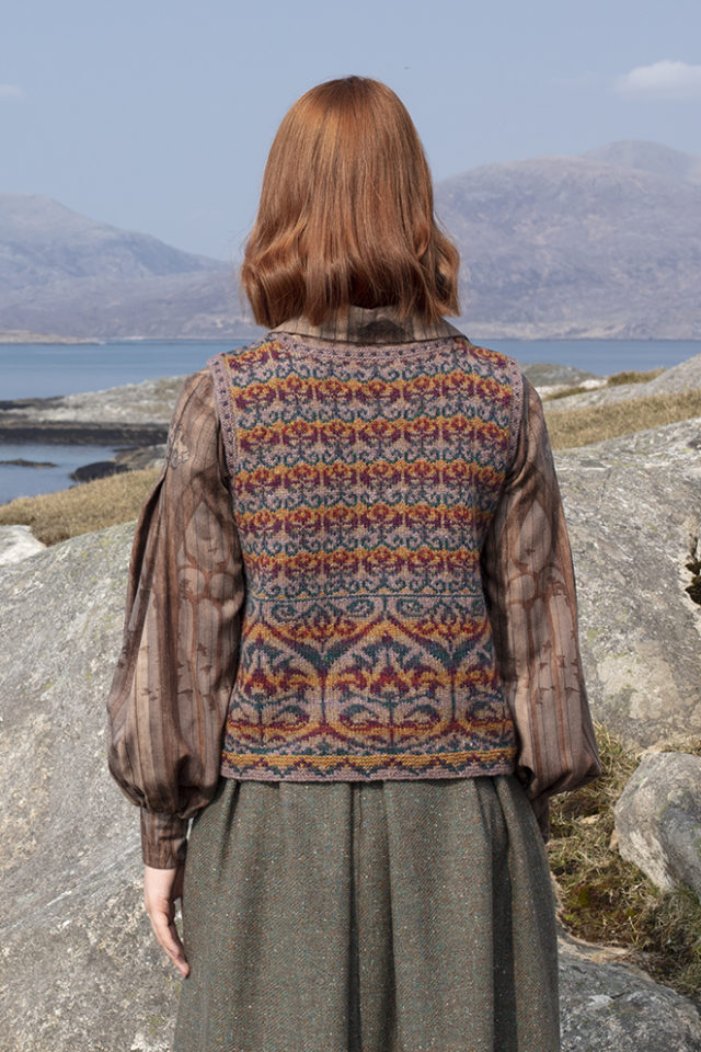 Suzani Vest hand knitwear design in bronze colourway from the book A Collector's Item by Jade Starmore