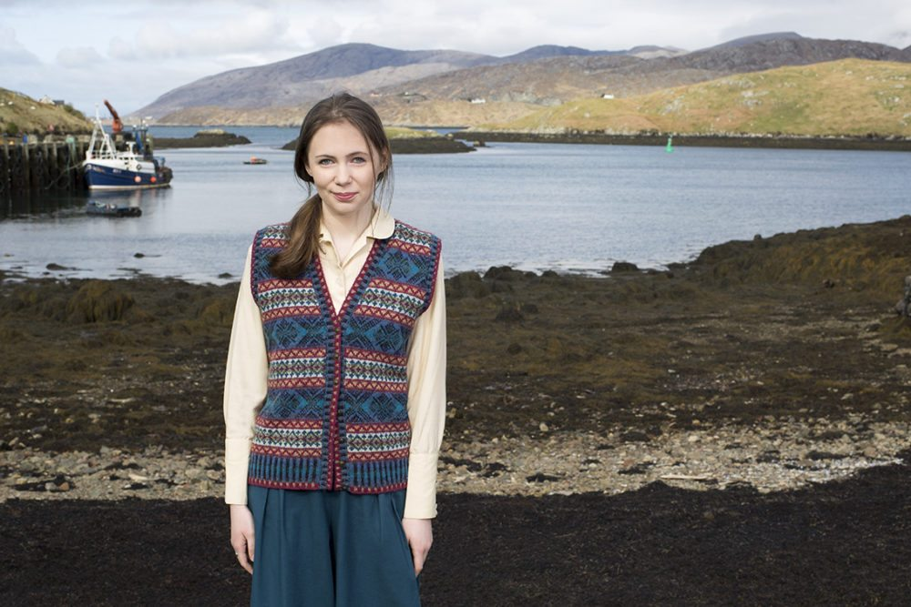 Mara waistcoat design patterncard kit in Hebridean 2 Ply pure British wool hand knitting yarn by Alice Starmore