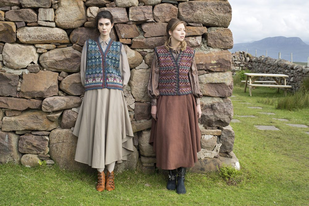 Oregon waistcoat in Spring colourway and Flora waistcoat in Mountain colourway, patterncard kits by Alice Starmore