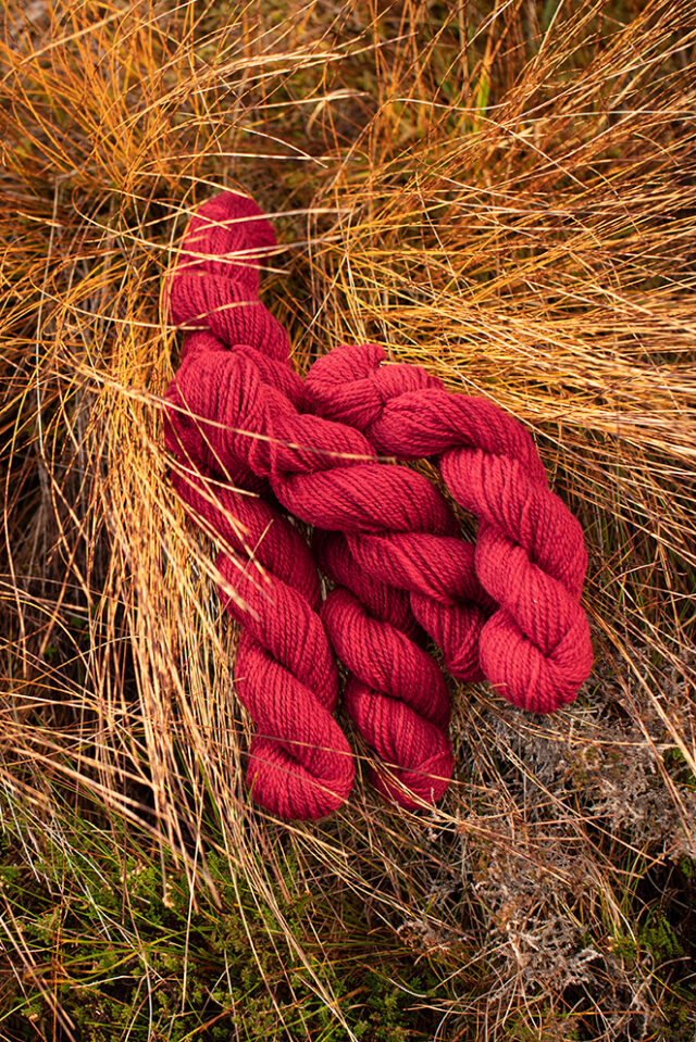 Alice Starmore 2 Ply Hebridean hand knitting yarn in Red Rattle