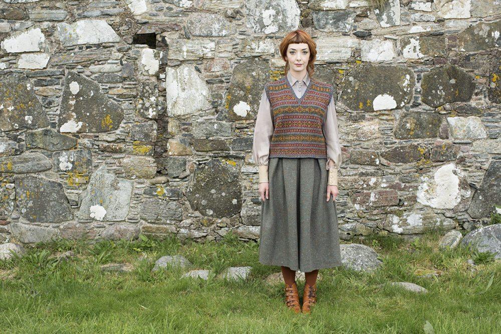 Roscalie Vest Patterncard Kit by Alice Starmore. Stranded hand knitwear design.