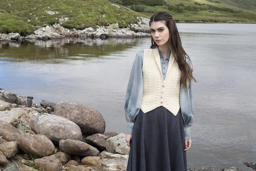Scapa waistcoat design patterncard kit in Scottish Fleet pure British wool hand knitting yarn by Alice Starmore
