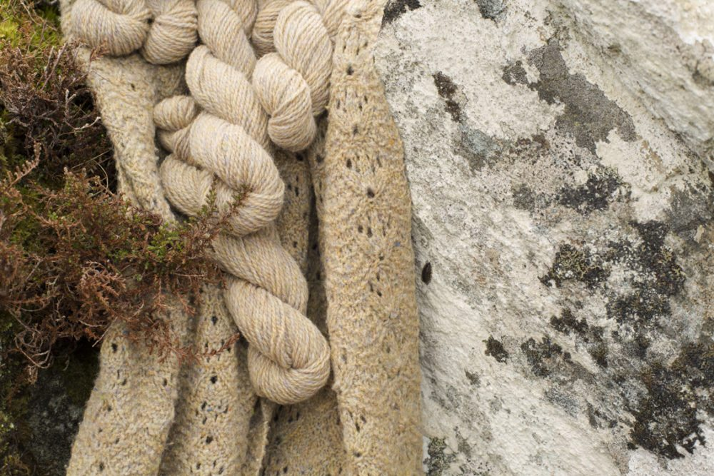 Alice Starmore Hebridean 2 Ply pure new British wool hand knitting Yarn in Spindrift colour, also shown knitted in Birdsfoot Scarf