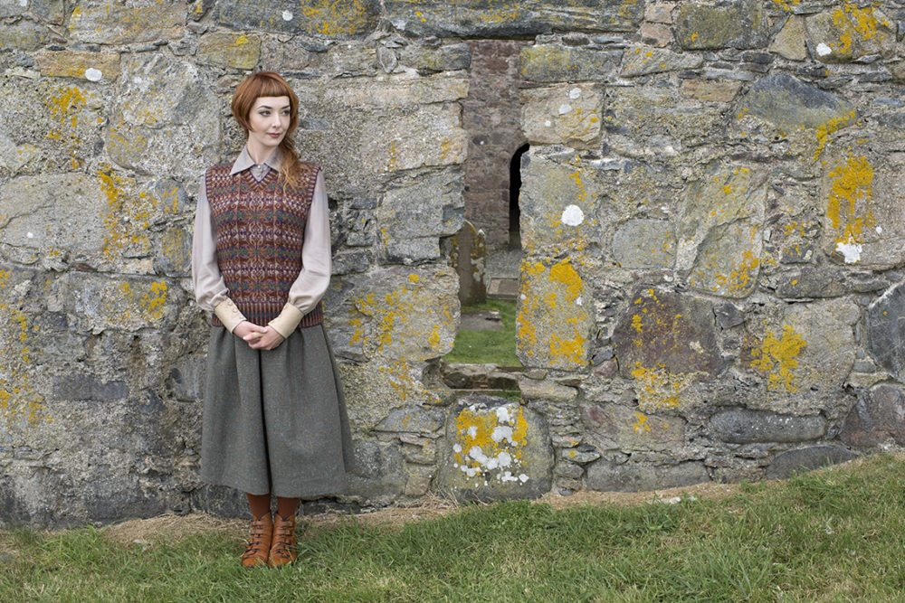 Thoroughbred vest design patterncard kit in Hebridean 2 Ply pure British wool hand knitting yarn by Alice Starmore