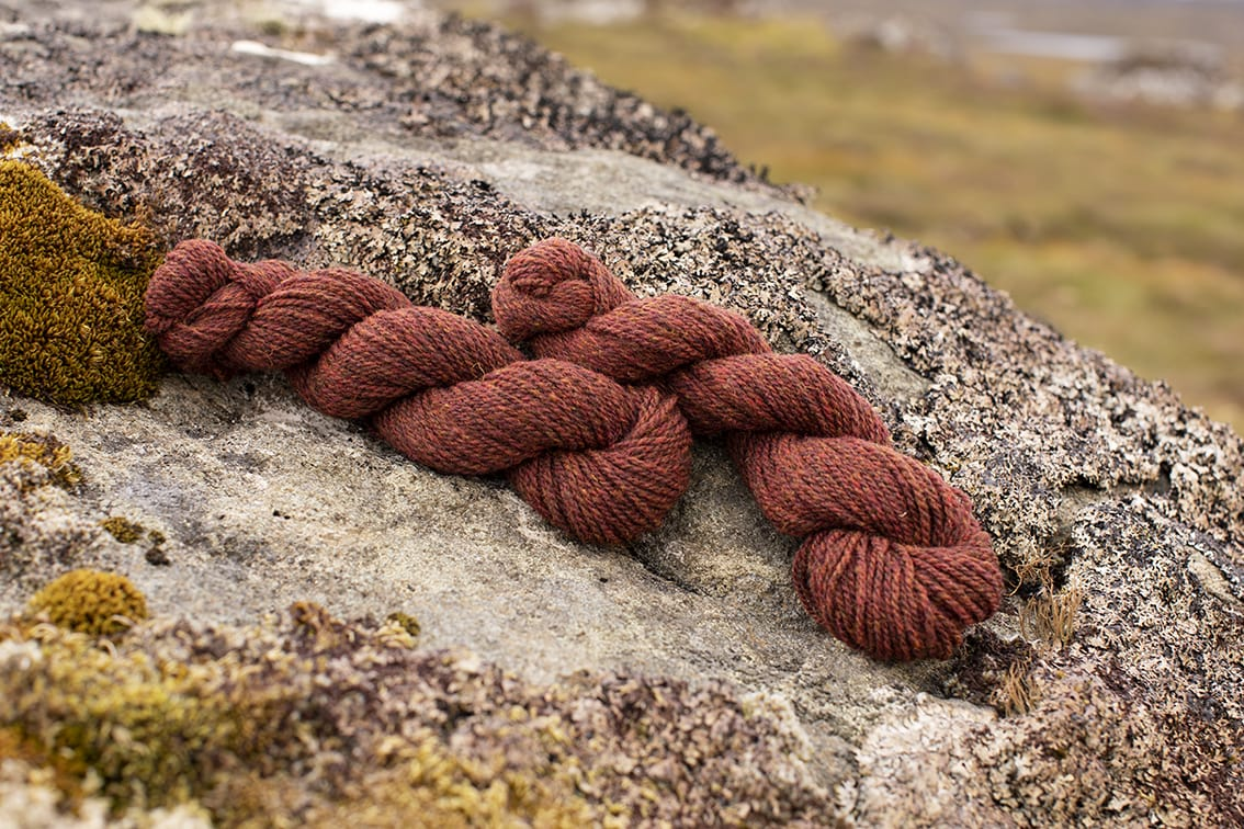 Alice Starmore 2 Ply Hebridean hand knitting yarn in Tormentil