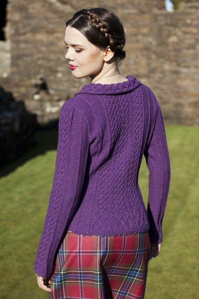 Eala Bhan design from Aran Knitting by Alice Starmore in Hebridean 2 Ply pure British wool hand knitting yarn