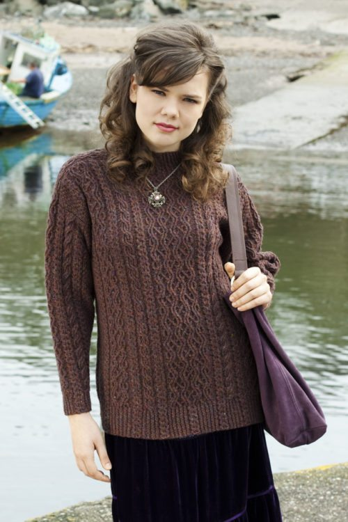 Irish Moss design from Aran Knitting by Alice Starmore in Hebridean 3 Ply pure British wool hand knitting yarn