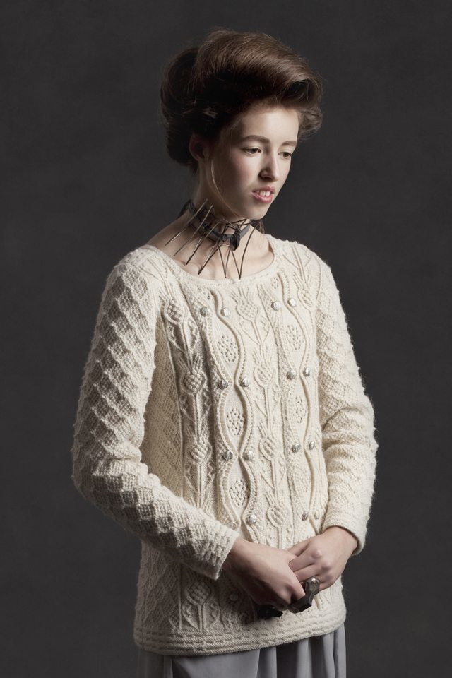 Margaret Tudor hand knitwear design by Alice Starmore from the book Tudor Roses