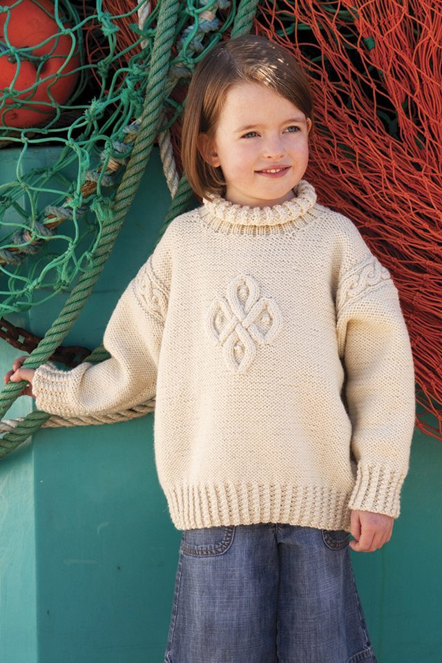 Sigil design from Aran Knitting by Alice Starmore in Bainin pure British wool hand knitting yarn