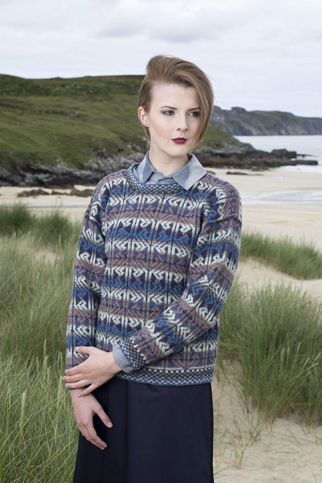 Alba patterncard kit by Alice Starmore in Hebridean 2 Ply pure British wool hand knitting yarn