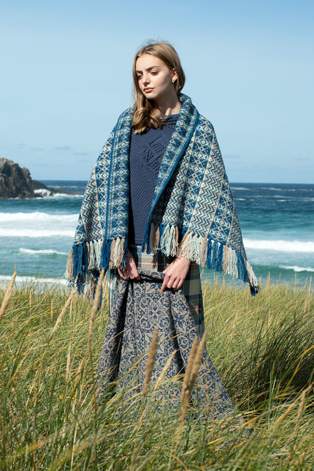 Ripple Wrap and Cairngorm Broach patterncard kit designs by Alice Starmore in Hebridean 2 Ply and Bainin yarn