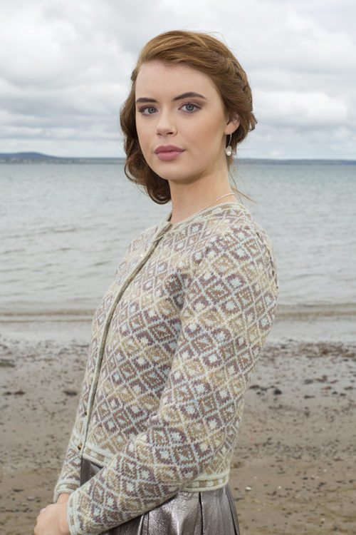 Delta cropped design patterncard kit by Jade Starmore in Hebridean 2 Ply pure British wool hand knitting yarn