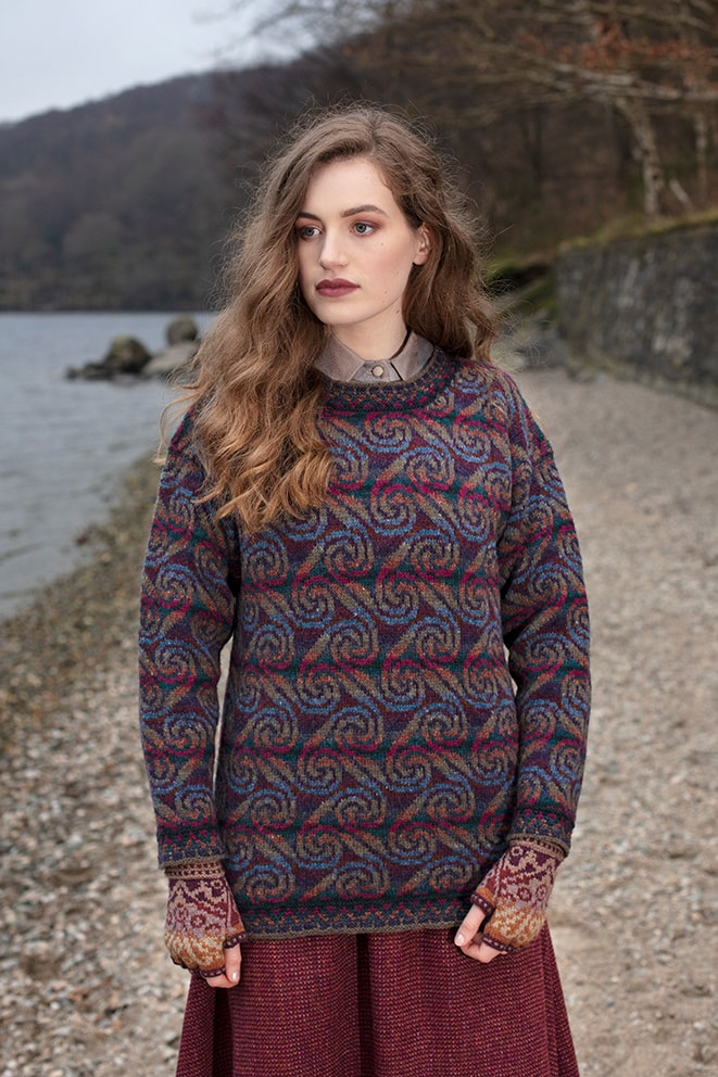 Donegal patterncard knitwear design by Alice Starmore in pure wool Hebridean 2 Ply hand knitting yarn