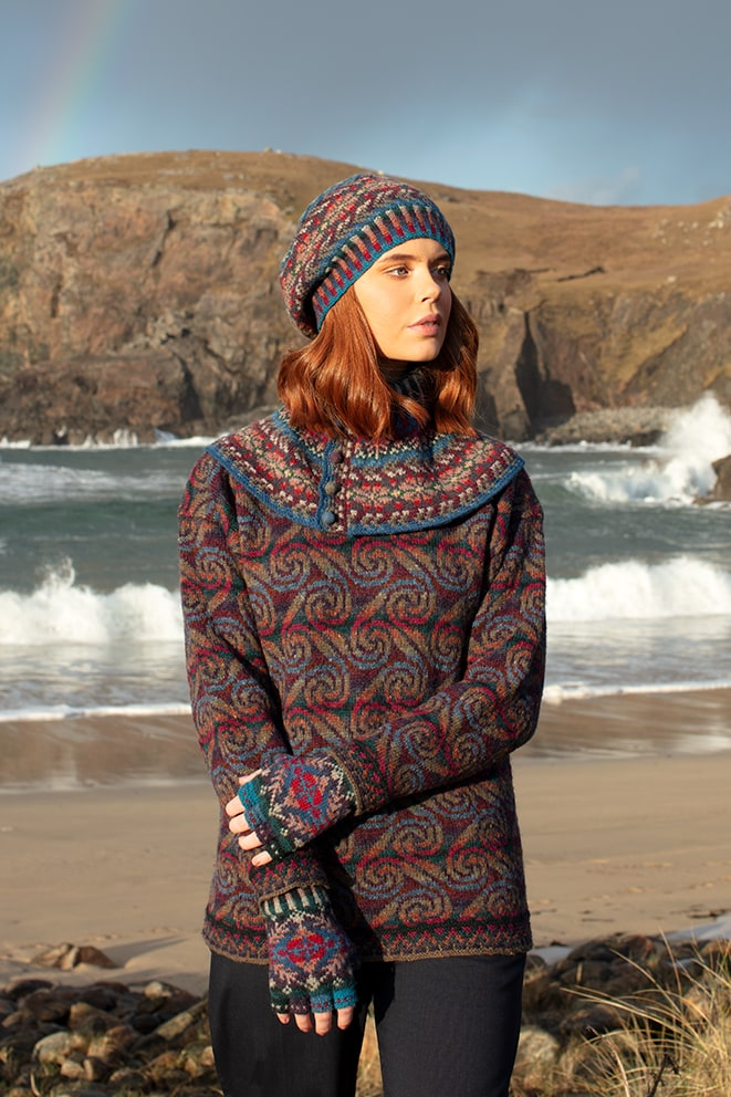 Donegal and Marina Hat Set patterncard knitwear designs by Alice Starmore in pure wool Hebridean 2 Ply hand knitting yarn