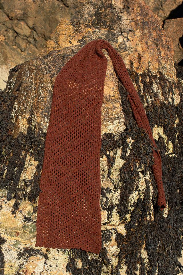 Driftnet Scarf patterncard knitwear design by Alice Starmore in pure wool Hebridean 2 Ply hand knitting yarn