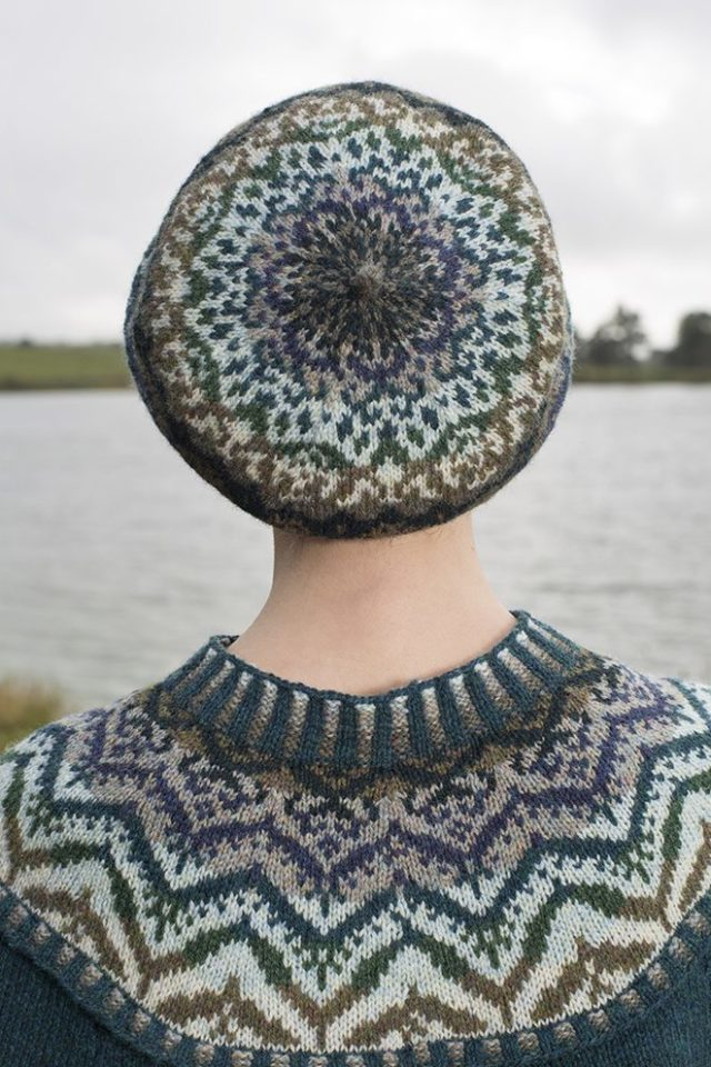 Merveille Du Jour poncho and hat patterncard kit by Alice Starmore in Hebridean 2 Ply pure British wool hand knitting yarn