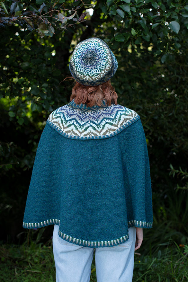 Mervielle Du Jour patterncard knitwear design by Alice Starmore in pure wool Hebridean 2 Ply hand knitting yarn