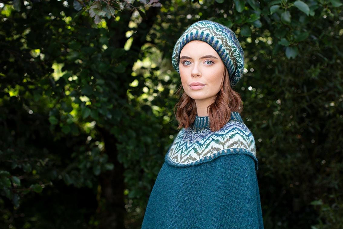 Mervielle Du Jour patterncard knitwear design by Alice Starmore in pure wool Hebridean 2 Ply hand knitting yarn