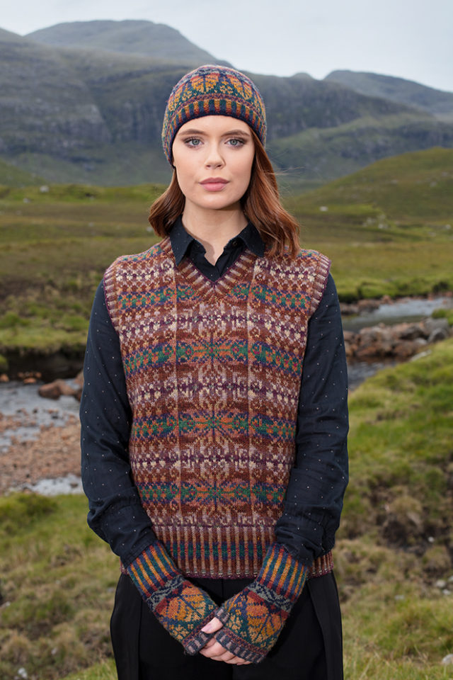 Thoroughbred Vest and Oregon Autumn Hat Set patterncard knitwear designs by Alice Starmore in pure wool Hebridean 2 Ply hand knitting yarn