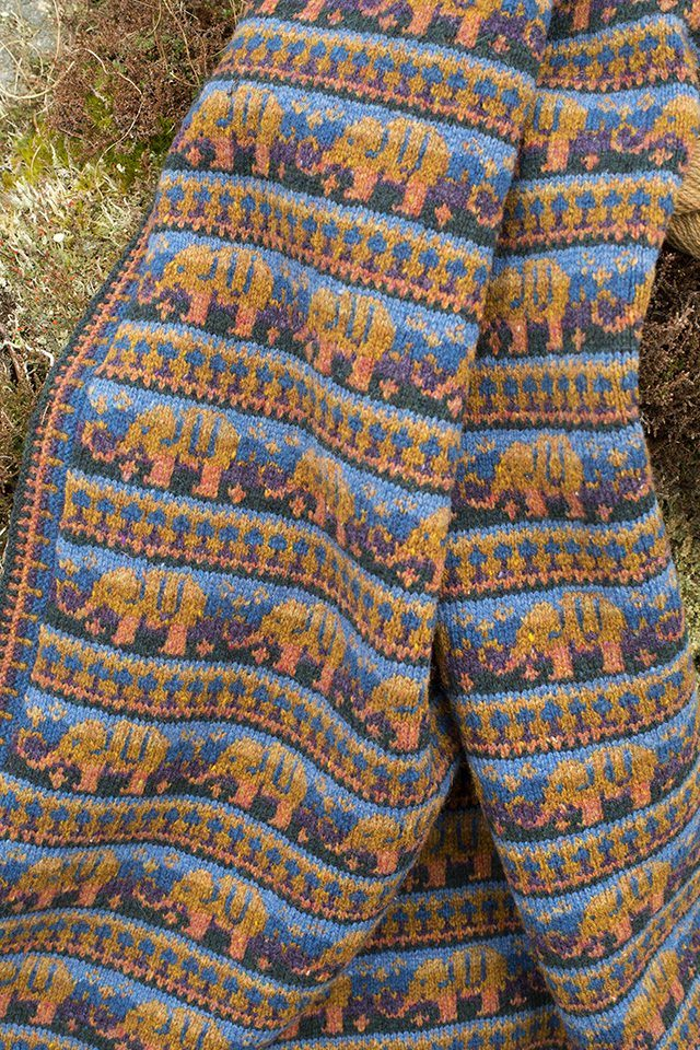Elephants blanket hand knitwear design by Alice Starmore from the book The Children's Collection