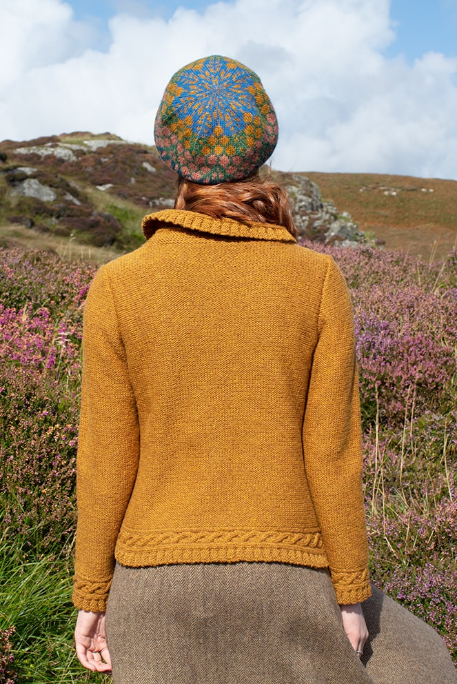 Eightsome Reel and Damselfly Hat Set patterncard knitwear designs by Alice Starmore in pure wool Hebridean 2 & 3 Ply hand knitting yarn