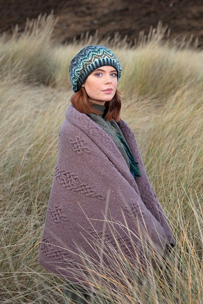 Dunadd patterncard knitwear design by Alice Starmore in pure wool Hebridean 3 Ply hand knitting yarn