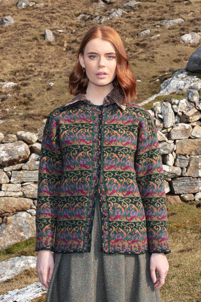 Firebirds patterncard knitwear design by Jade Starmore in pure wool Hebridean 2 Ply hand knitting yarn