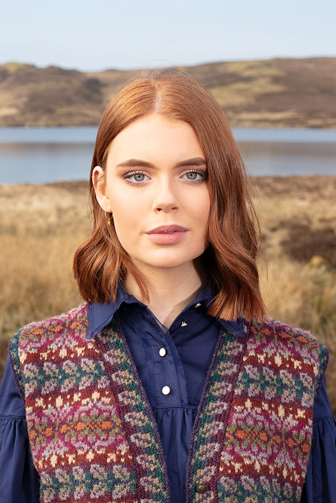 Flora Waistcoat patterncard knitwear design by Alice Starmore in pure wool Hebridean 2 Ply hand knitting yarn