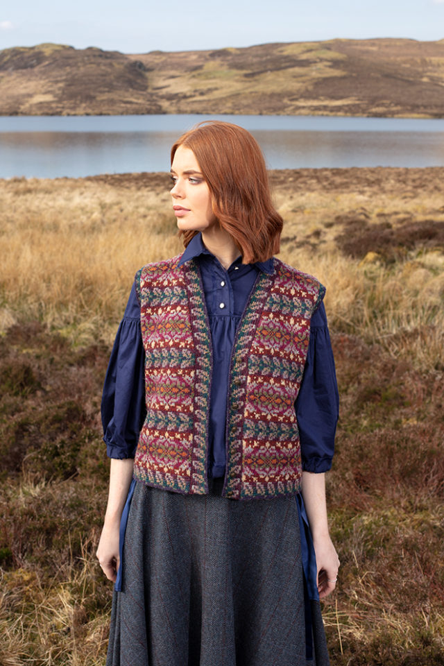 Flora Waistcoat patterncard knitwear design by Alice Starmore in pure wool Hebridean 2 Ply hand knitting yarn