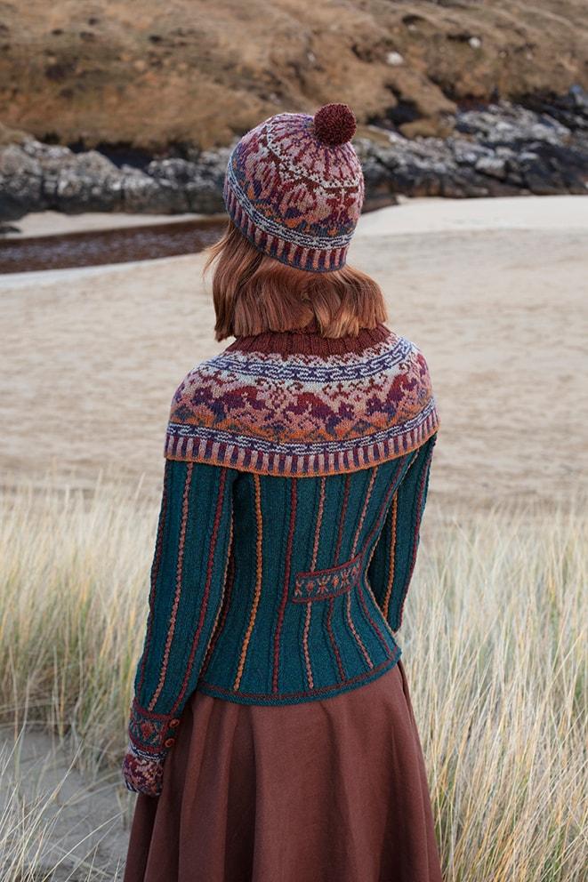 Hawk & Hound patterncard knitwear design by Jade Starmore in pure wool Hebridean 2 Ply hand knitting yarn