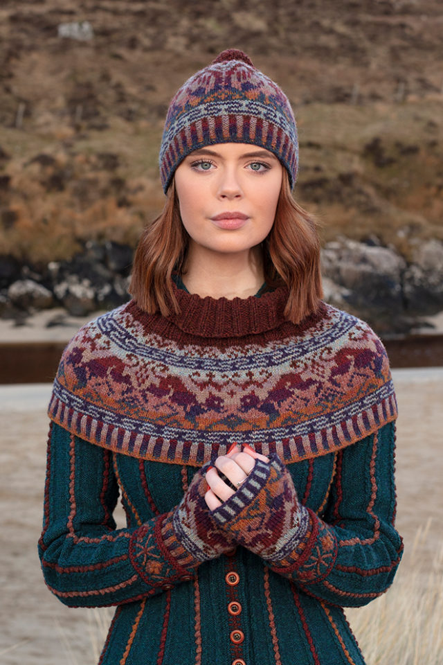 Hawk & Hound patterncard knitwear design by Jade Starmore in pure wool Hebridean 2 Ply hand knitting yarn