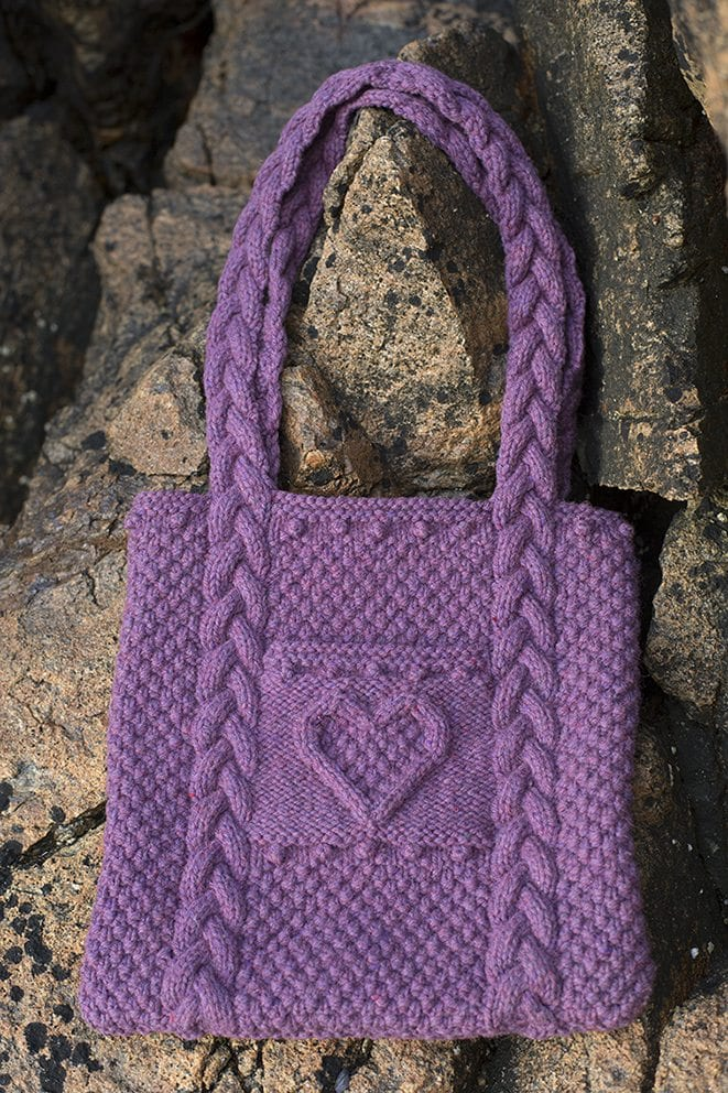 Heart Bag patterncard kit by Alice Starmore in Wild Orchid Hebridean 3 Ply pure British wool hand knitting yarn