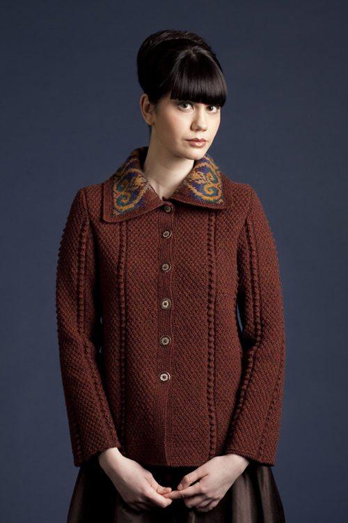 Henrietta cardigan design patterncard kit by Alice Starmore in Hebridean 2 & 3 Ply pure British wool hand knitting yarn