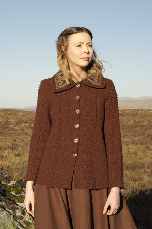 Henrietta cardigan design patterncard kit by Alice Starmore in Hebridean 2 & 3 Ply pure British wool hand knitting yarn