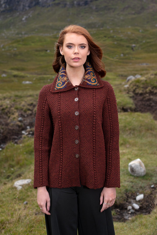 Henrietta patterncard knitwear design by Alice Starmore in pure wool Hebridean 2 Ply hand knitting yarn