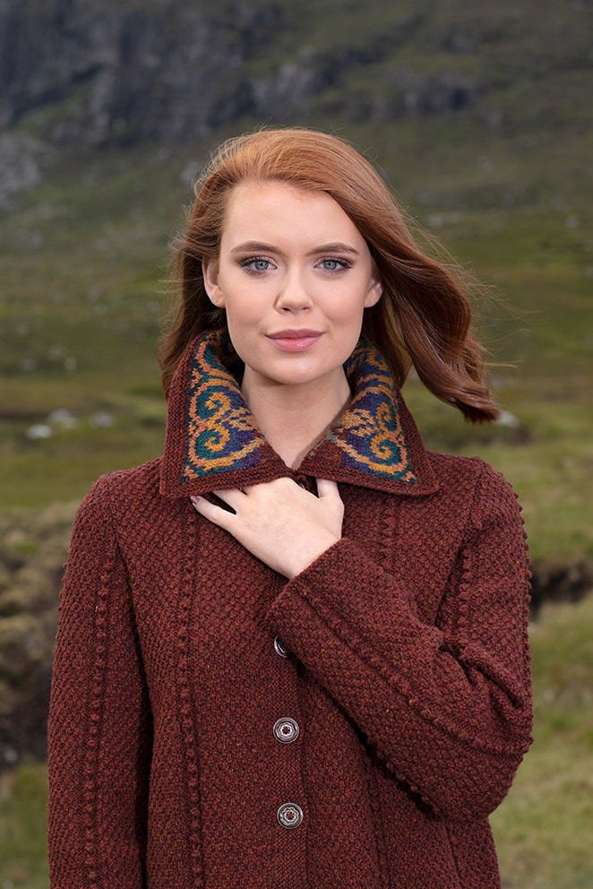 Henrietta patterncard knitwear design by Alice Starmore in pure wool Hebridean 2 Ply hand knitting yarn