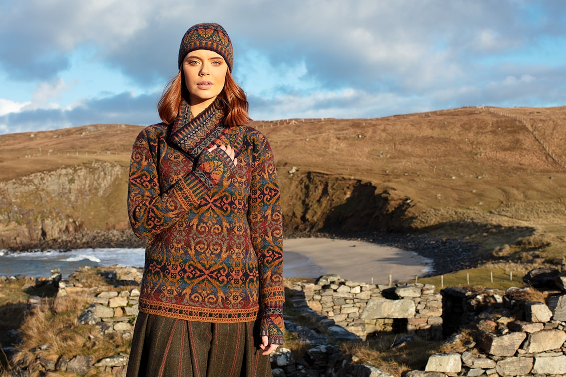 Henry VIII and Oregon Autumn Hat Set patterncard knitwear designs by Alice Starmore in pure wool Hebridean 2 Ply hand knitting yarn