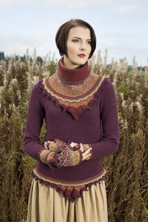 Herald sweater and accessory set patterncard kits by Alice Starmore in Hebridean 2 Ply pure British wool hand knitting yarn