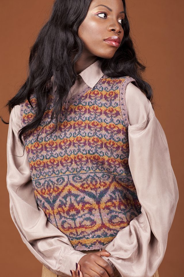 Suzani waistcoat hand knitwear design by Jade Starmore from the book A Collector's Item