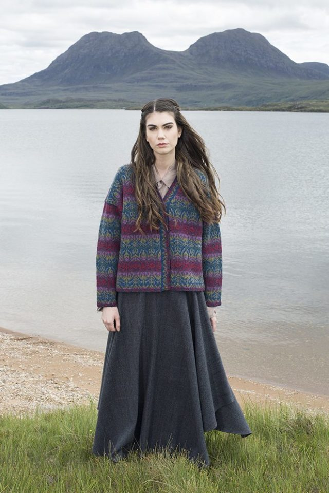 Lalelli cardigan design patterncard kit by Jade Starmore in Hebridean 2 Ply pure British wool hand knitting yarn