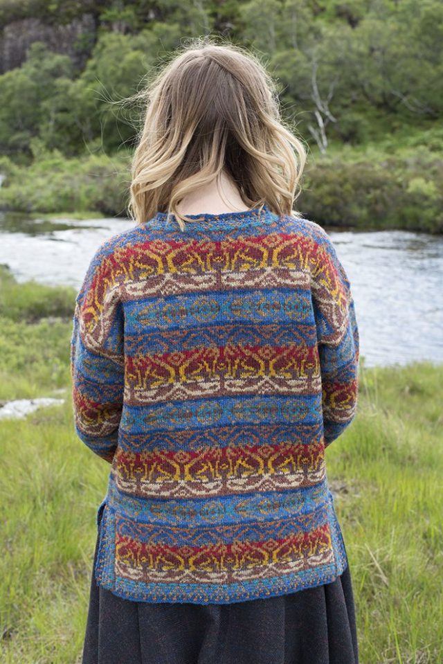 Leo sweater patterncard kit by Jade Starmore in Hebridean 2 Ply pure British wool hand knitting yarn