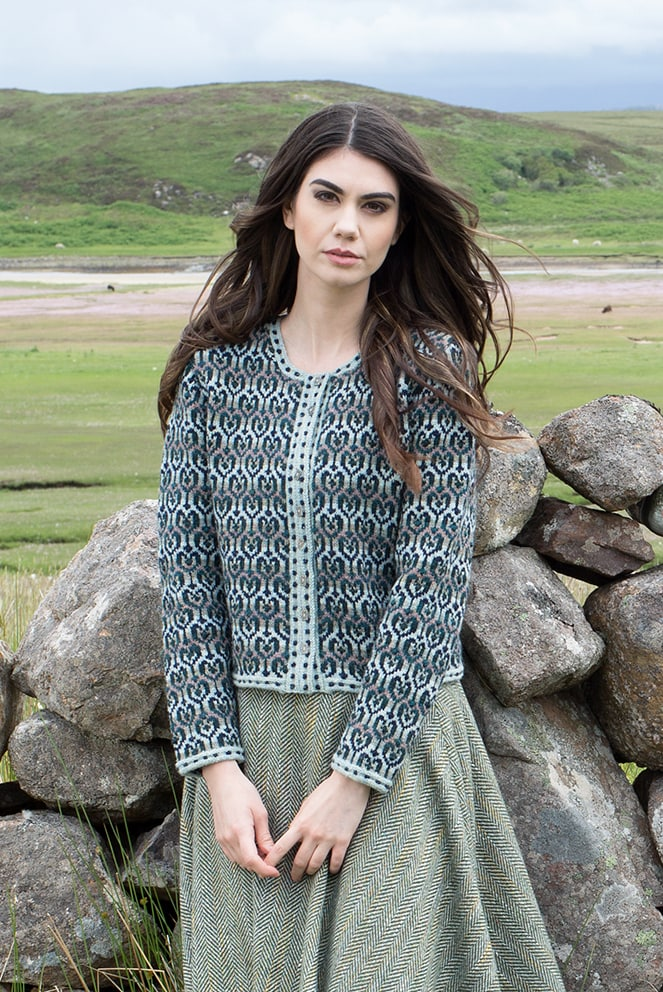 Loch Lomond patterncard knitwear design by Jade Starmore in pure wool Hebridean 2 Ply hand knitting yarn