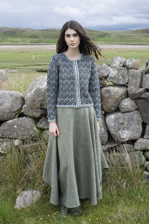 Loch Lomond cardigan design patterncard kit by Jade Starmore in Hebridean 2 Ply pure British wool hand knitting yarn
